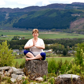 Diane Campbell, Yogi in her Yoga pose. Diane teaches Yoga classes across Wirral